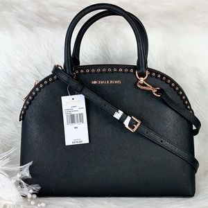 New Michael Kors Emmy Black Scalloped Grommet